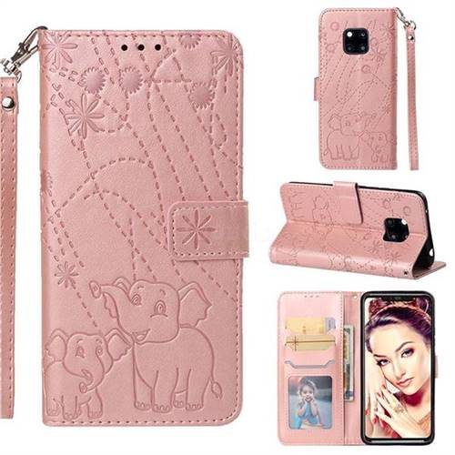 Embossing Fireworks Elephant Leather Wallet Case for Huawei Mate 20 Pro - Rose Gold