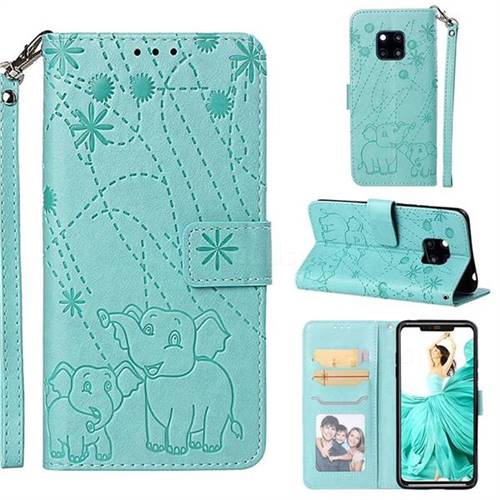 Embossing Fireworks Elephant Leather Wallet Case for Huawei Mate 20 Pro - Green