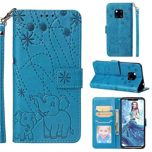 Embossing Fireworks Elephant Leather Wallet Case for Huawei Mate 20 Pro - Blue