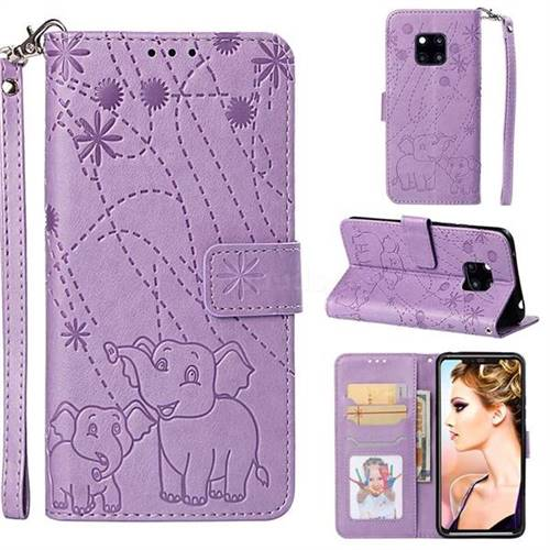 Embossing Fireworks Elephant Leather Wallet Case for Huawei Mate 20 Pro - Purple