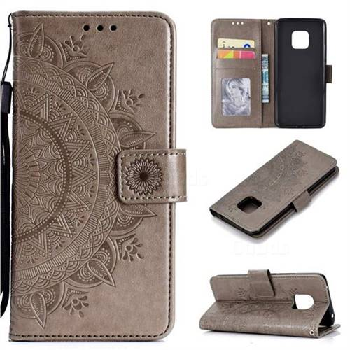Intricate Embossing Datura Leather Wallet Case for Huawei Mate 20 Pro - Gray