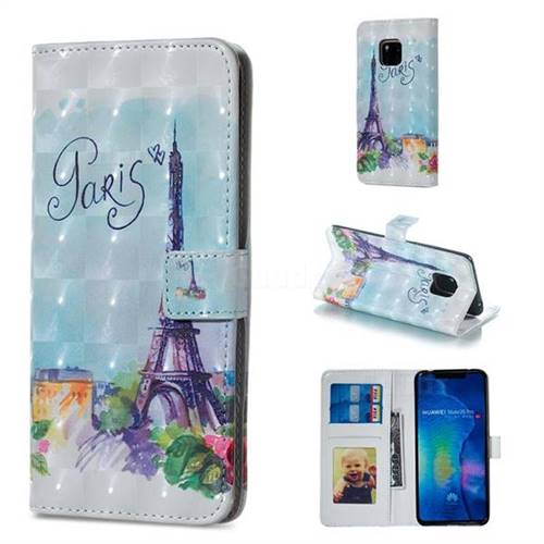 Paris Tower 3D Painted Leather Phone Wallet Case for Huawei Mate 20 Pro