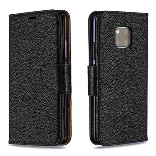 Classic Luxury Litchi Leather Phone Wallet Case for Huawei Mate 20 Pro - Black