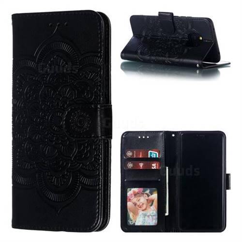 Intricate Embossing Datura Solar Leather Wallet Case for Huawei Mate 20 Pro - Black