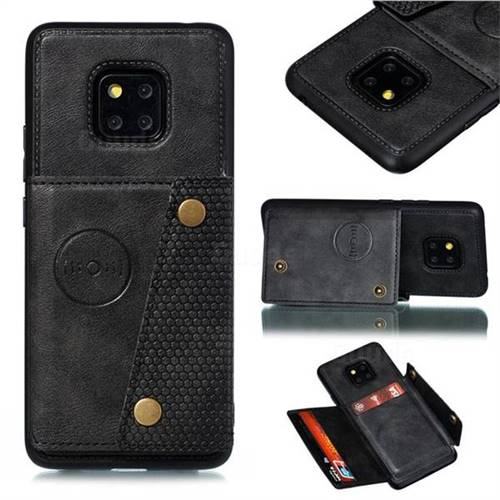 Retro Multifunction Card Slots Stand Leather Coated Phone Back Cover for Huawei Mate 20 Pro - Black