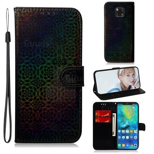 Laser Circle Shining Leather Wallet Phone Case for Huawei Mate 20 Pro - Black
