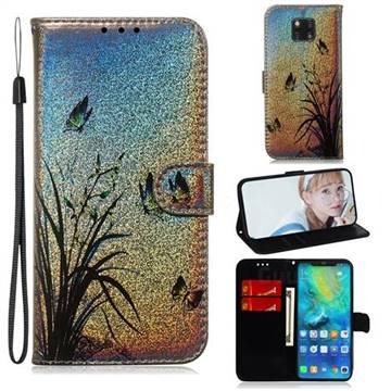 Butterfly Orchid Laser Shining Leather Wallet Phone Case for Huawei Mate 20 Pro
