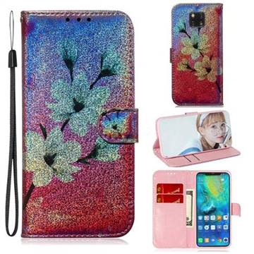 Magnolia Laser Shining Leather Wallet Phone Case for Huawei Mate 20 Pro