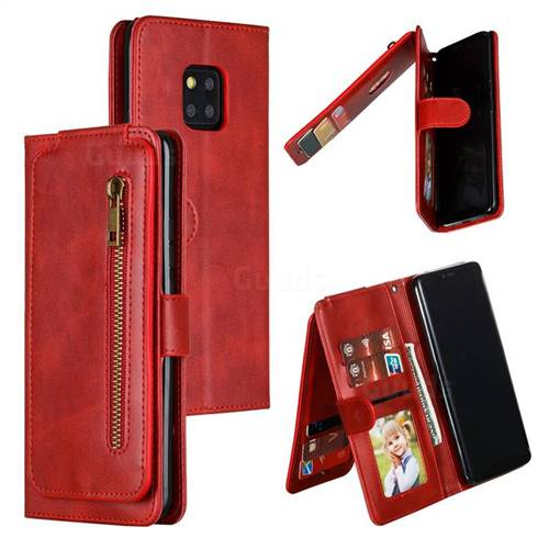 Multifunction 9 Cards Leather Zipper Wallet Phone Case for Huawei Mate 20 Pro - Red