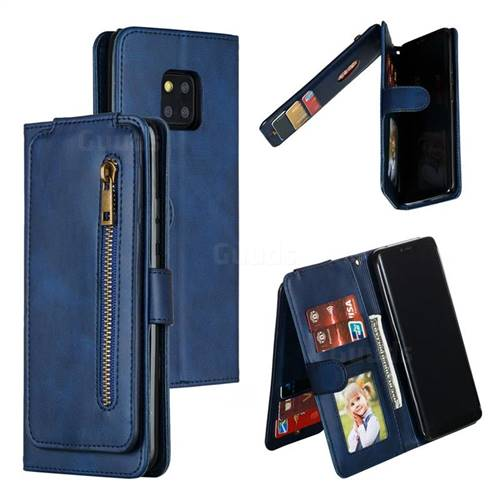 Multifunction 9 Cards Leather Zipper Wallet Phone Case for Huawei Mate 20 Pro - Blue