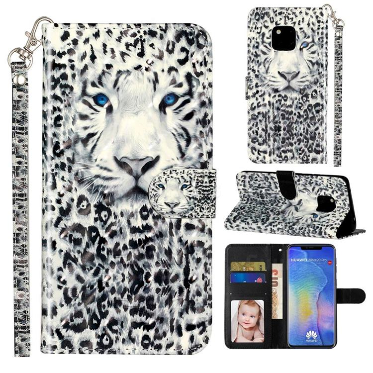 White Leopard 3D Leather Phone Holster Wallet Case for Huawei Mate 20 Pro