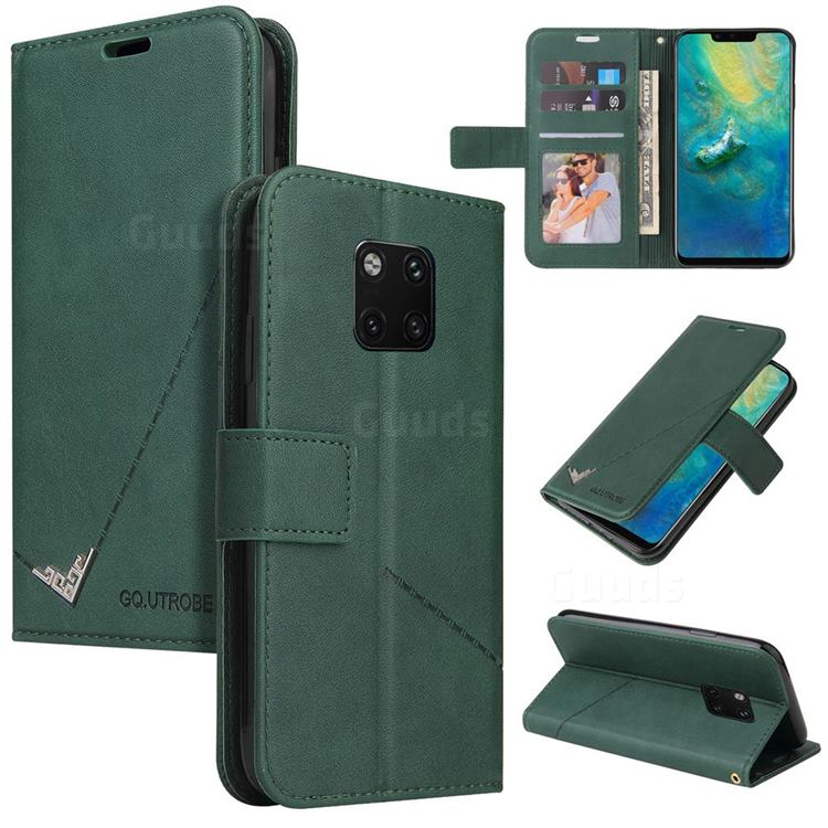 GQ.UTROBE Right Angle Silver Pendant Leather Wallet Phone Case for Huawei Mate 20 Pro - Green
