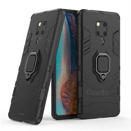 Black Panther Armor Metal Ring Grip Shockproof Dual Layer Rugged Hard Cover for Huawei Mate 20 X - Black