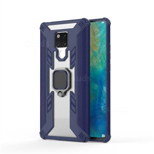 Predator Armor Metal Ring Grip Shockproof Dual Layer Rugged Hard Cover for Huawei Mate 20 X - Blue
