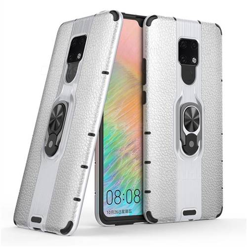Alita Battle Angel Armor Metal Ring Grip Shockproof Dual Layer Rugged Hard Cover for Huawei Mate 20 X - Silver