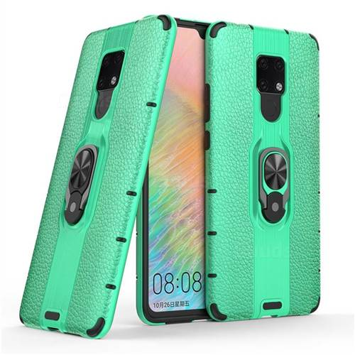 Alita Battle Angel Armor Metal Ring Grip Shockproof Dual Layer Rugged Hard Cover for Huawei Mate 20 X - Green