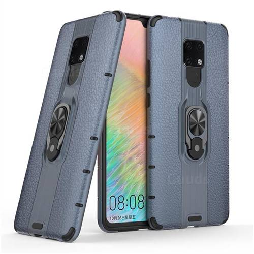 Alita Battle Angel Armor Metal Ring Grip Shockproof Dual Layer Rugged Hard Cover for Huawei Mate 20 X - Blue