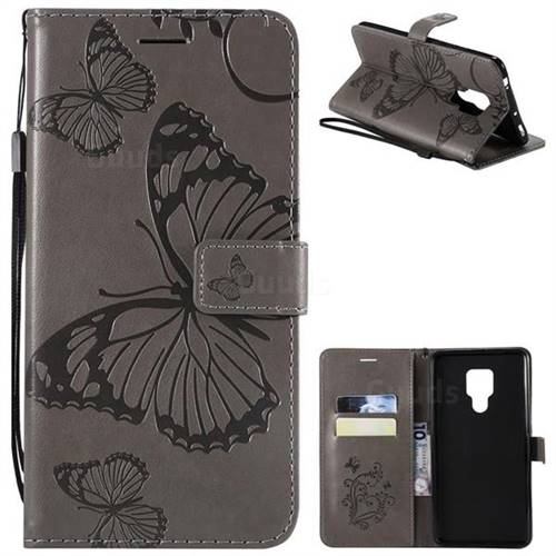 Embossing 3D Butterfly Leather Wallet Case for Huawei Mate 20 X - Gray
