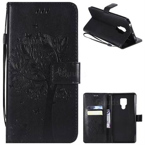 Embossing Butterfly Tree Leather Wallet Case for Huawei Mate 20 X - Black