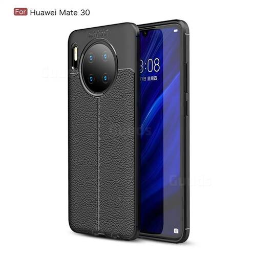 Luxury Auto Focus Litchi Texture Silicone TPU Back Cover for Huawei Mate 30 - Black