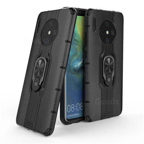 Alita Battle Angel Armor Metal Ring Grip Shockproof Dual Layer Rugged Hard Cover for Huawei Mate 30 - Black