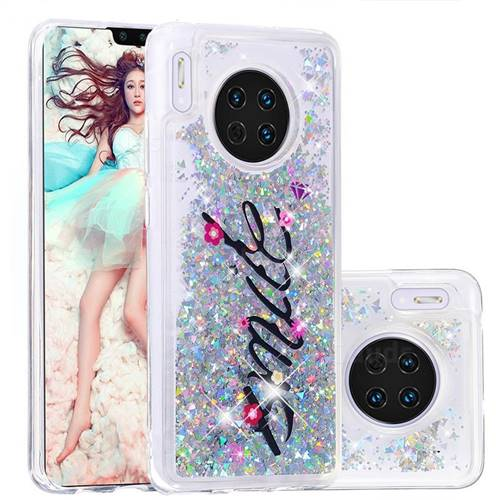 Smile Flower Dynamic Liquid Glitter Quicksand Soft TPU Case for Huawei Mate 30