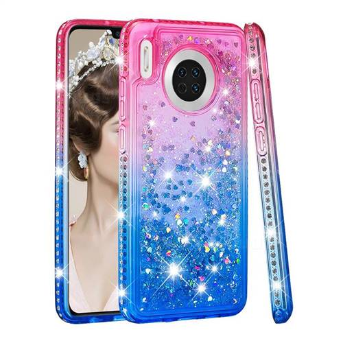 Diamond Frame Liquid Glitter Quicksand Sequins Phone Case for Huawei Mate 30 - Pink Blue