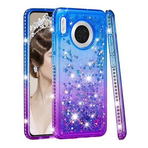 Diamond Frame Liquid Glitter Quicksand Sequins Phone Case for Huawei Mate 30 - Blue Purple