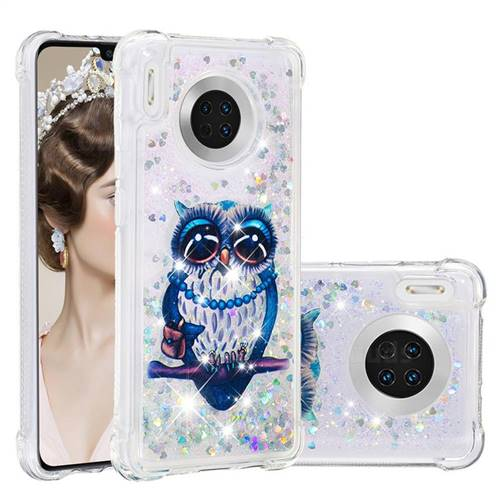Sweet Gray Owl Dynamic Liquid Glitter Sand Quicksand Star TPU Case for Huawei Mate 30