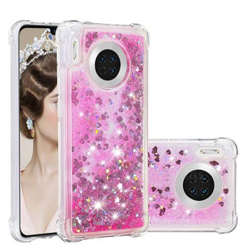 Dynamic Liquid Glitter Sand Quicksand TPU Case for Huawei Mate 30 - Pink Love Heart