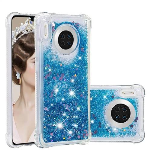 Dynamic Liquid Glitter Sand Quicksand TPU Case for Huawei Mate 30 - Blue Love Heart