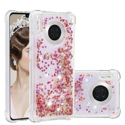 Dynamic Liquid Glitter Sand Quicksand TPU Case for Huawei Mate 30 - Rose Gold Love Heart