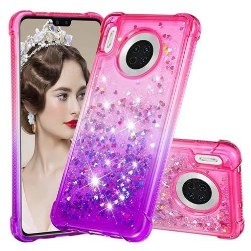 Rainbow Gradient Liquid Glitter Quicksand Sequins Phone Case for Huawei Mate 30 - Pink Purple