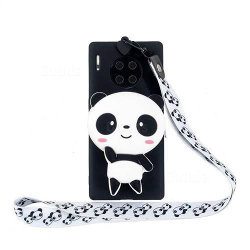 White Panda Neck Lanyard Zipper Wallet Silicone Case for Huawei Mate 30