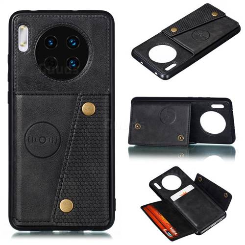 Retro Multifunction Card Slots Stand Leather Coated Phone Back Cover for Huawei Mate 30 - Black