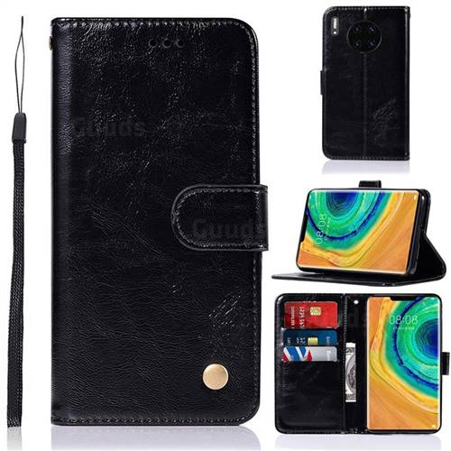 Luxury Retro Leather Wallet Case for Huawei Mate 30 - Black