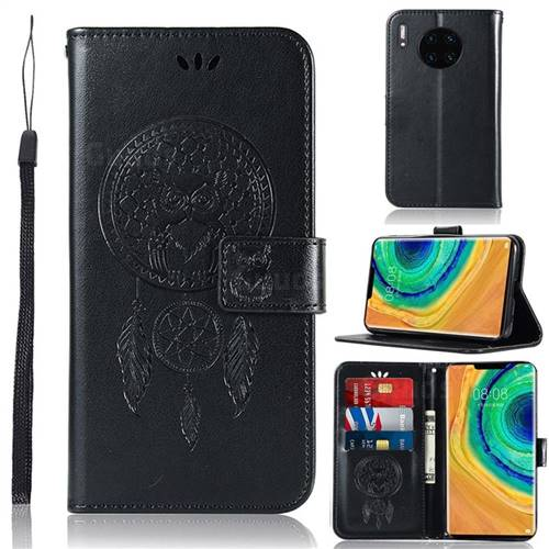 Intricate Embossing Owl Campanula Leather Wallet Case for Huawei Mate 30 - Black