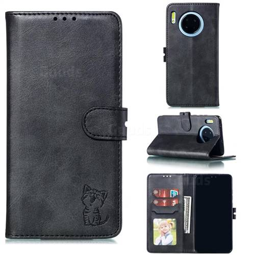 Embossing Happy Cat Leather Wallet Case for Huawei Mate 30 - Black