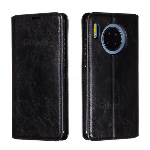 Retro Slim Magnetic Crazy Horse PU Leather Wallet Case for Huawei Mate 30 - Black
