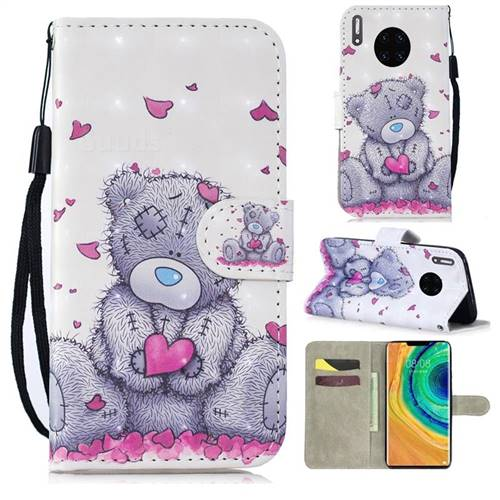 Love Panda 3D Painted Leather Wallet Phone Case for Huawei Mate 30