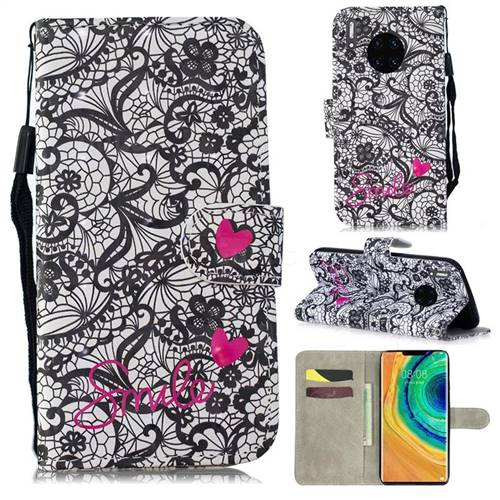 Lace Flower 3D Painted Leather Wallet Phone Case for Huawei Mate 30