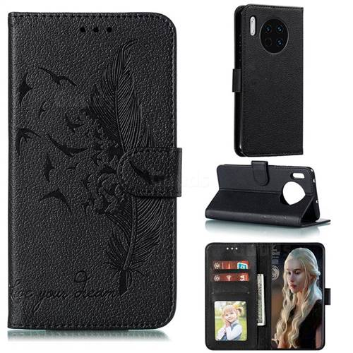 Intricate Embossing Lychee Feather Bird Leather Wallet Case for Huawei Mate 30 - Black