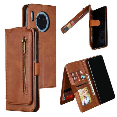 Multifunction 9 Cards Leather Zipper Wallet Phone Case for Huawei Mate 30 - Brown