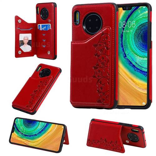 Yikatu Luxury Cute Cats Multifunction Magnetic Card Slots Stand Leather Back Cover for Huawei Mate 30 - Red