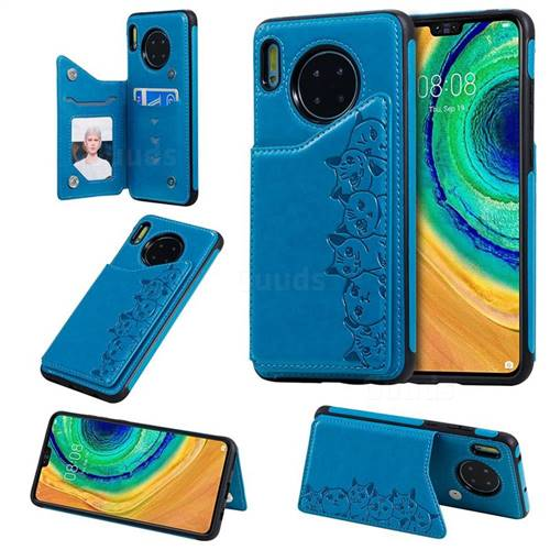Yikatu Luxury Cute Cats Multifunction Magnetic Card Slots Stand Leather Back Cover for Huawei Mate 30 - Blue
