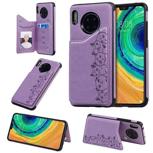 Yikatu Luxury Cute Cats Multifunction Magnetic Card Slots Stand Leather Back Cover for Huawei Mate 30 - Purple