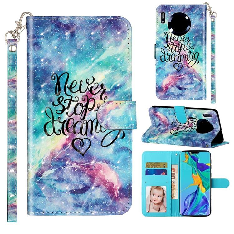 Blue Starry Sky 3D Leather Phone Holster Wallet Case for Huawei Mate 30