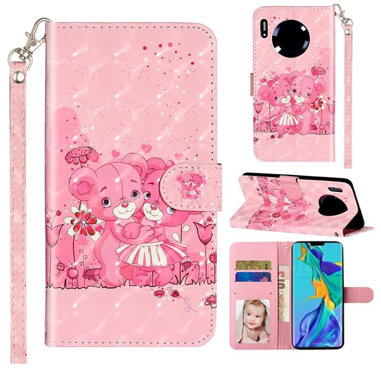 Pink Bear 3D Leather Phone Holster Wallet Case for Huawei Mate 30