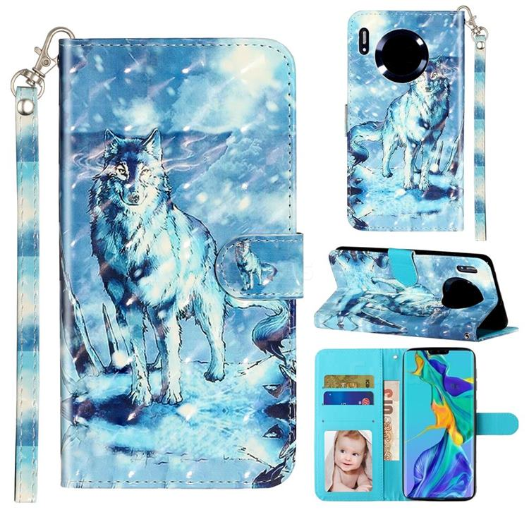 Snow Wolf 3D Leather Phone Holster Wallet Case for Huawei Mate 30