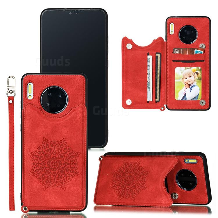 Luxury Mandala Multi-function Magnetic Card Slots Stand Leather Back Cover for Huawei Mate 30 - Red